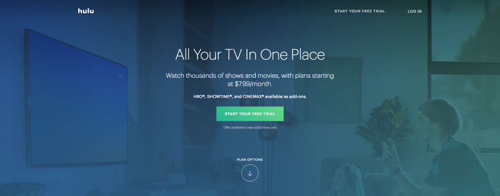 hulu with live tv vod video-on-demand library streaming online instantly