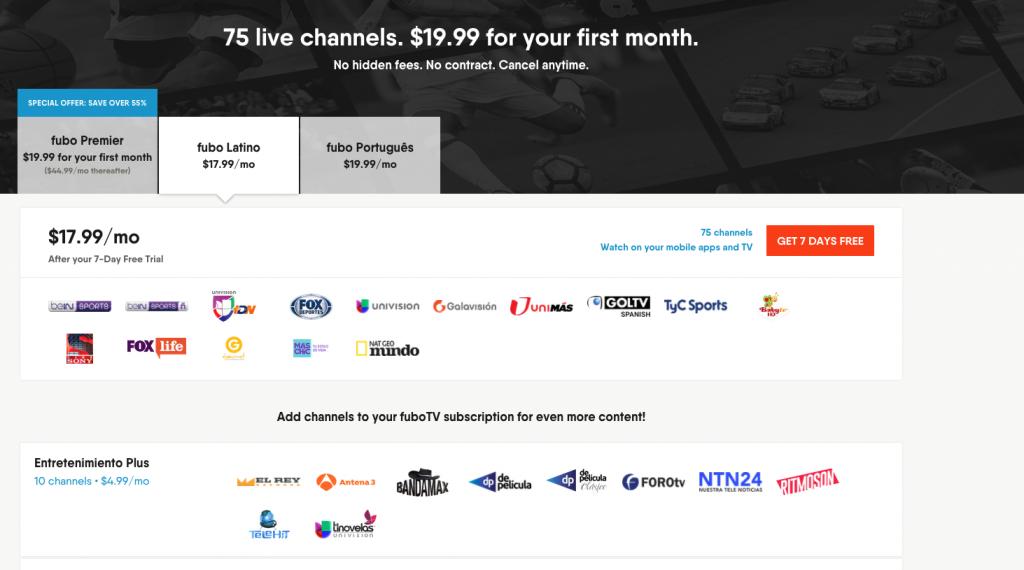 cable alternatives Portuguese spanish streaming fubotv