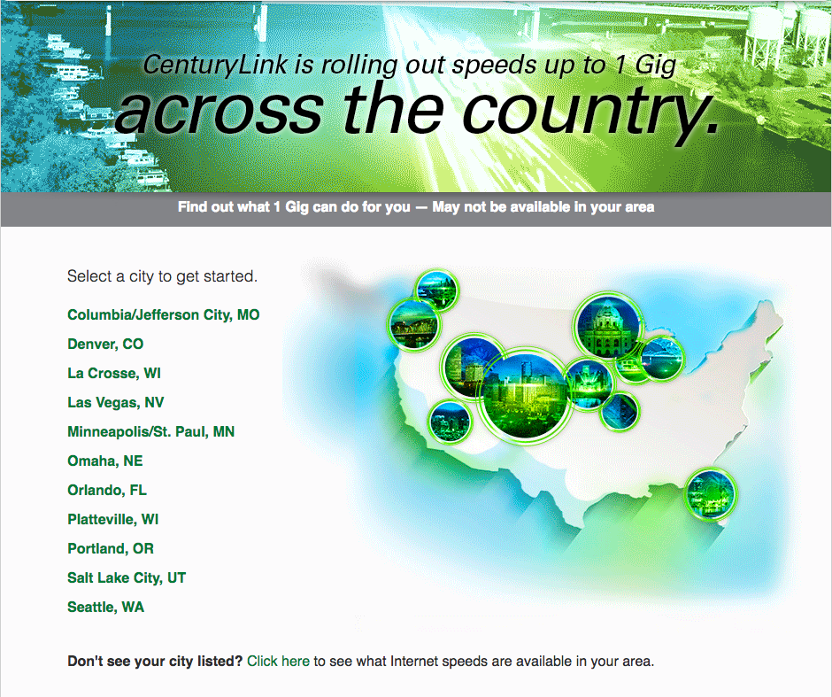 centurylink gigabit broadband options states served best ISPs gigabit America