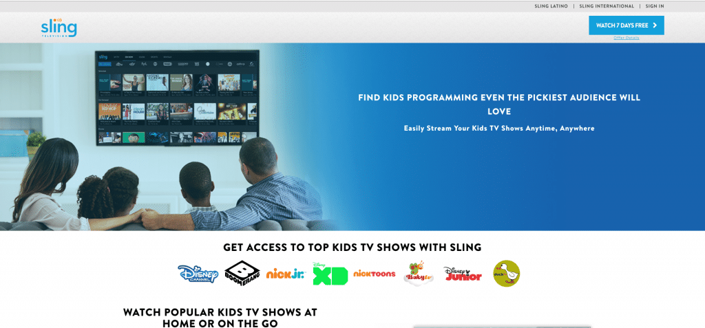 sling tv watch nick jr without cable