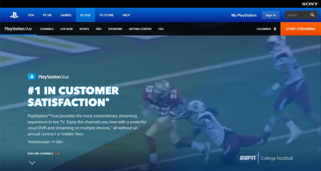 watch ncaa football online PlayStation Vue sec pac-12 big 10
