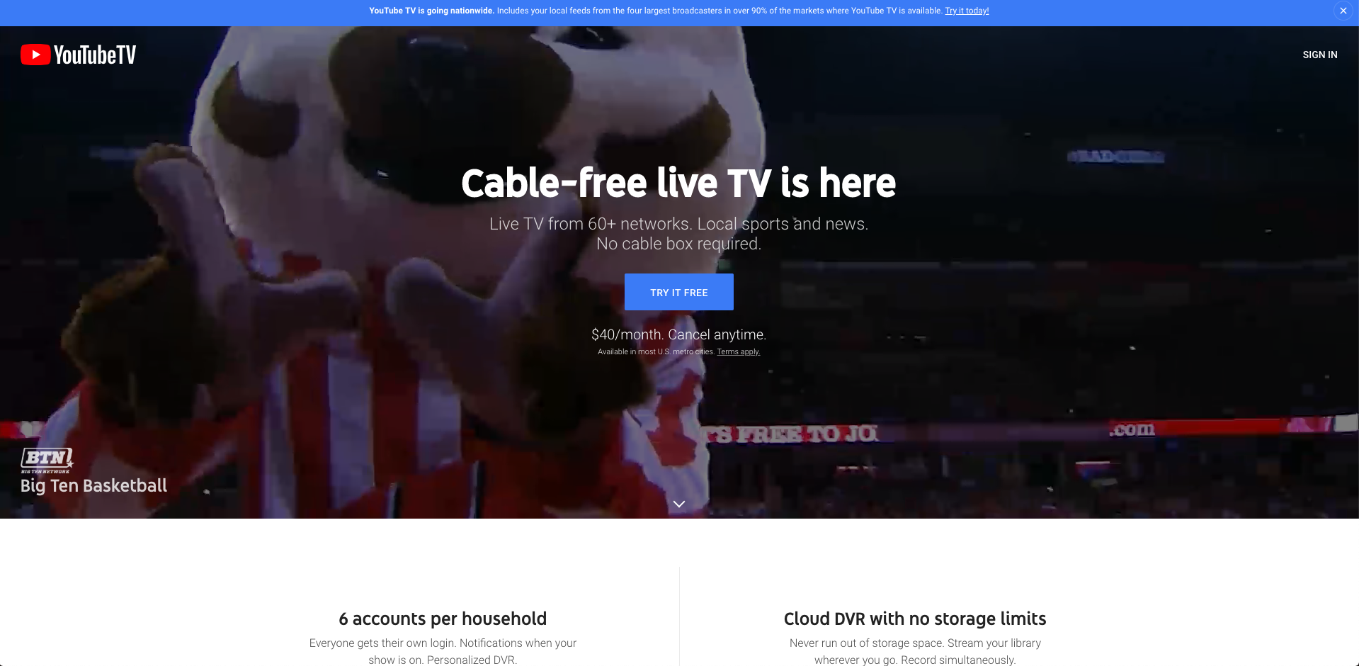 youtube tv espnews without cable