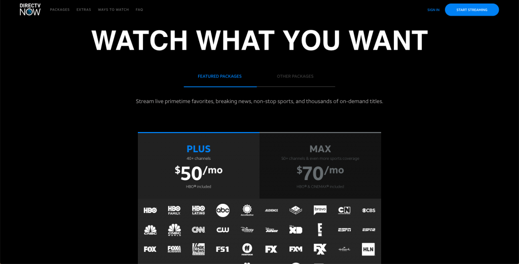 directv now packages pricing plans