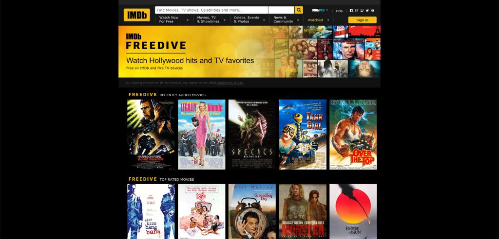 IMDB FreeDive best free streaming services