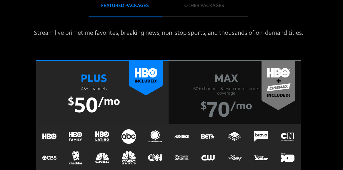 AT&T TV Now Subscription plans