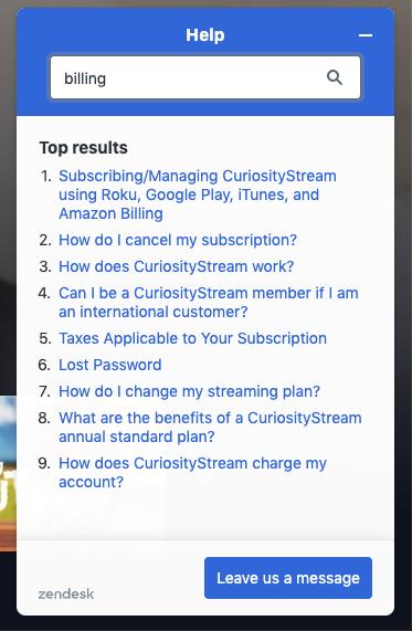 curiositystream help support