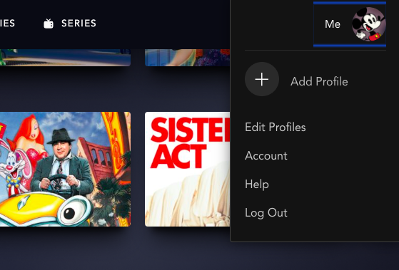 Cancel Disney+ step 1 select your account