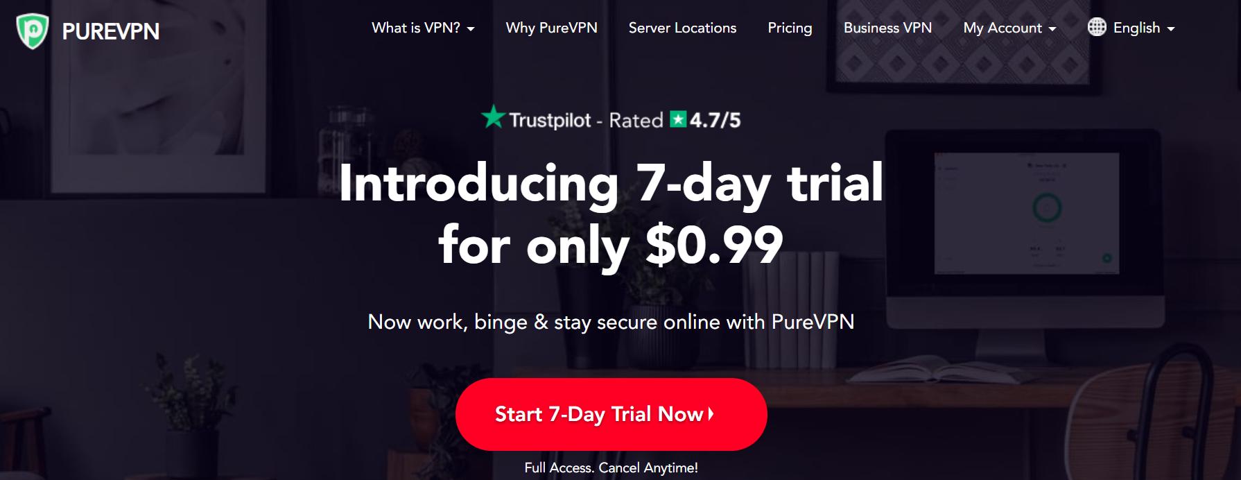 purevpn home page
