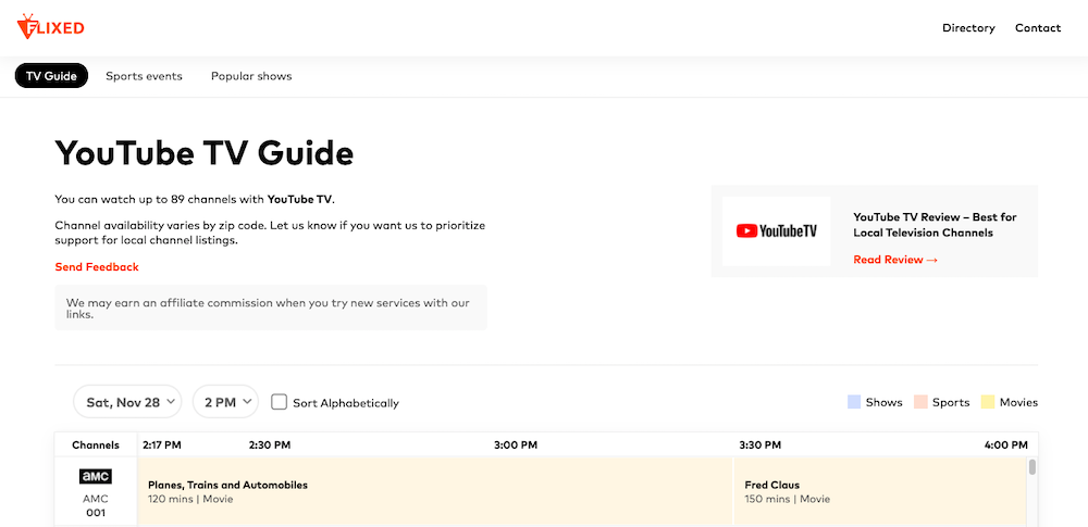 Flixed TV Guide for YouTube TV