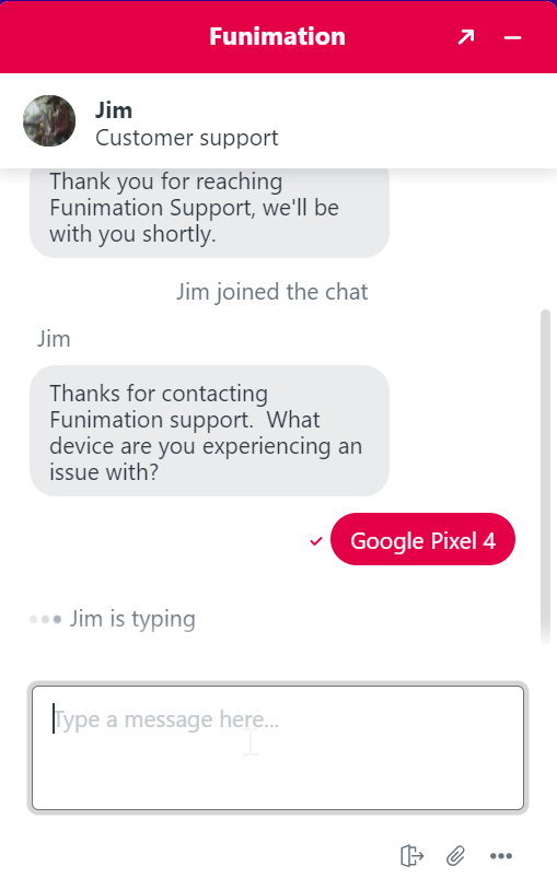 funimation chat support