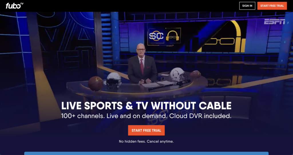 watch sunday night football nfl without cable fuboTV
